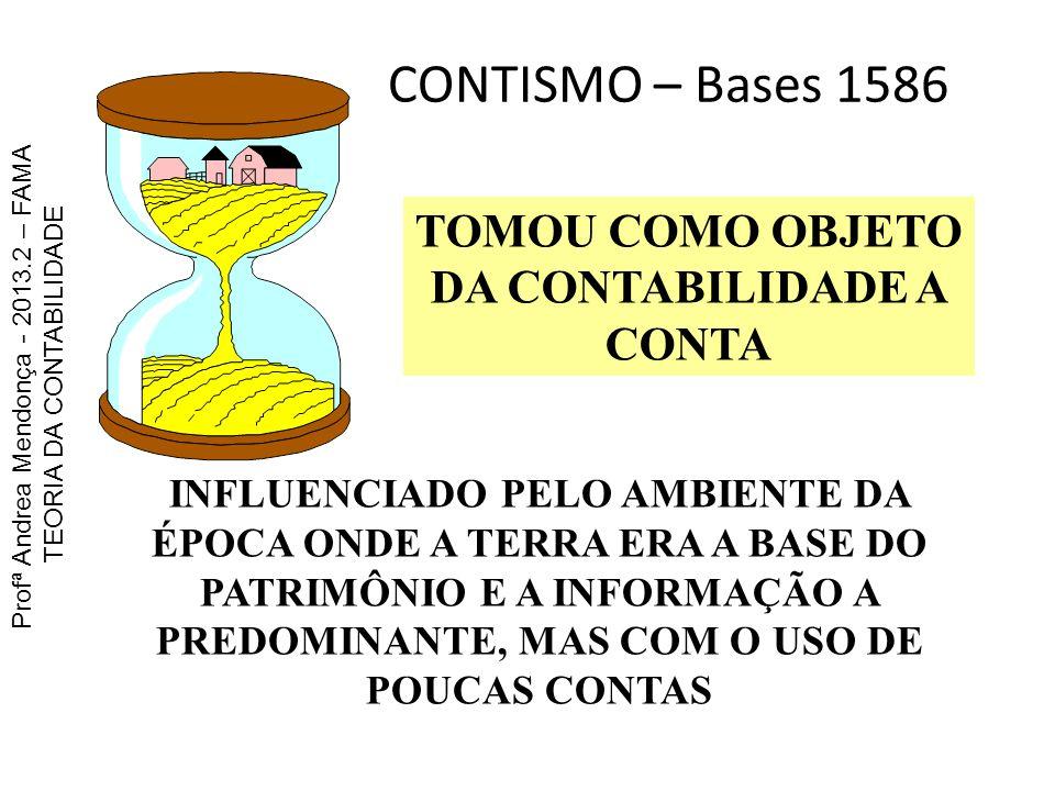 CONTISMO – Bases 1586 TOMOU COMO OBJETO DA CONTABILIDADE A CONTA INFLUENCIADO PELO AMBIENTE DA ÉPOCA ONDE A TERRA ERA A BASE DO PATRIMÔNIO E A INFORMA