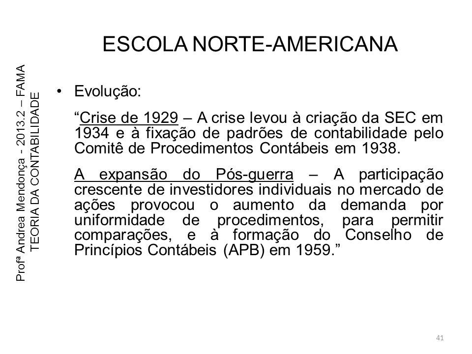 ESCOLA NORTE-AMERICANA Evolução: Crise de 1929 – A crise levou à criação da SEC em 1934 e à fixação de padrões de contabilidade pelo Comitê de Procedi