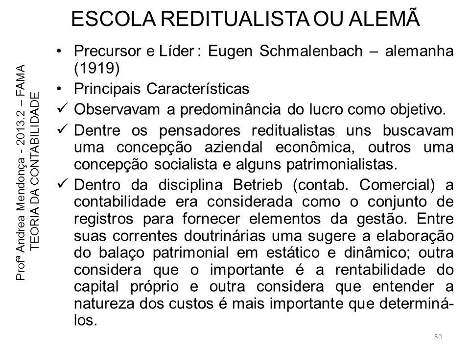 ESCOLA REDITUALISTA OU ALEMÃ Precursor e Líder: Eugen Schmalenbach – alemanha (1919) Principais Características Observavam a predominância do lucro co
