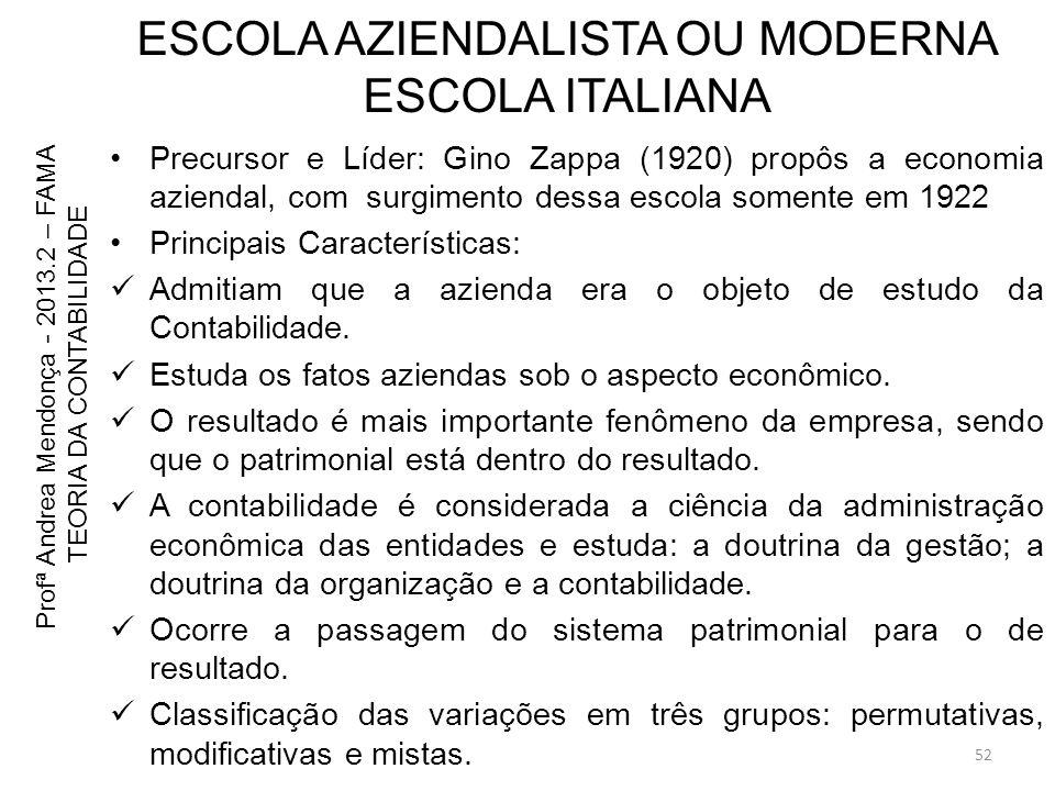 ESCOLA AZIENDALISTA OU MODERNA ESCOLA ITALIANA Precursor e Líder: Gino Zappa (1920) propôs a economia aziendal, com surgimento dessa escola somente em