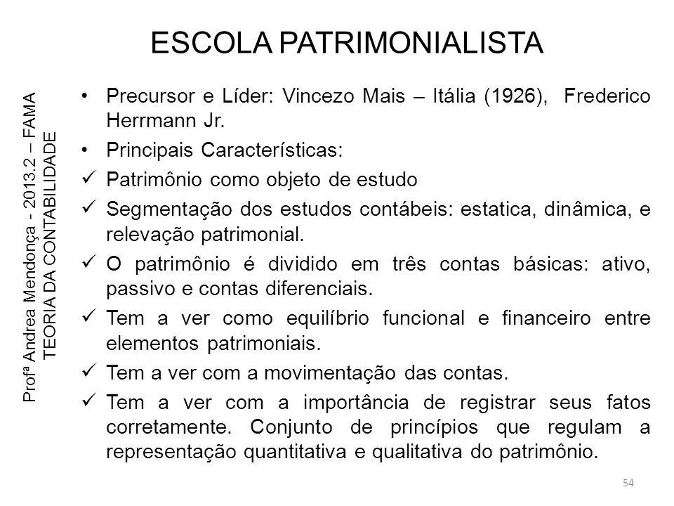 ESCOLA PATRIMONIALISTA Precursor e Líder: Vincezo Mais – Itália (1926), Frederico Herrmann Jr. Principais Características: Patrimônio como objeto de e
