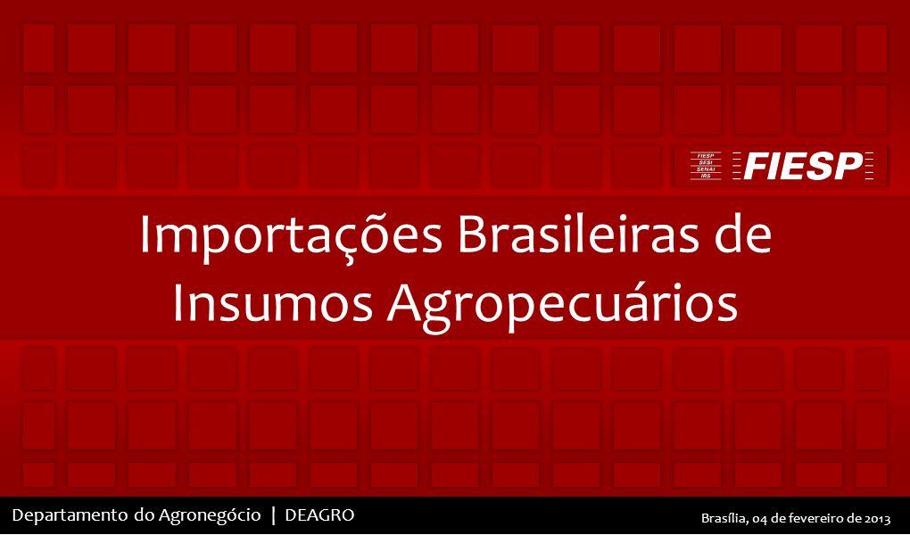 Elaborado pelo Departamento do Agronegócio | DEAGRO Departamento do Agronegócio | DEAGRO Brasília, 04 de fevereiro de 2013 Importações Brasileiras de