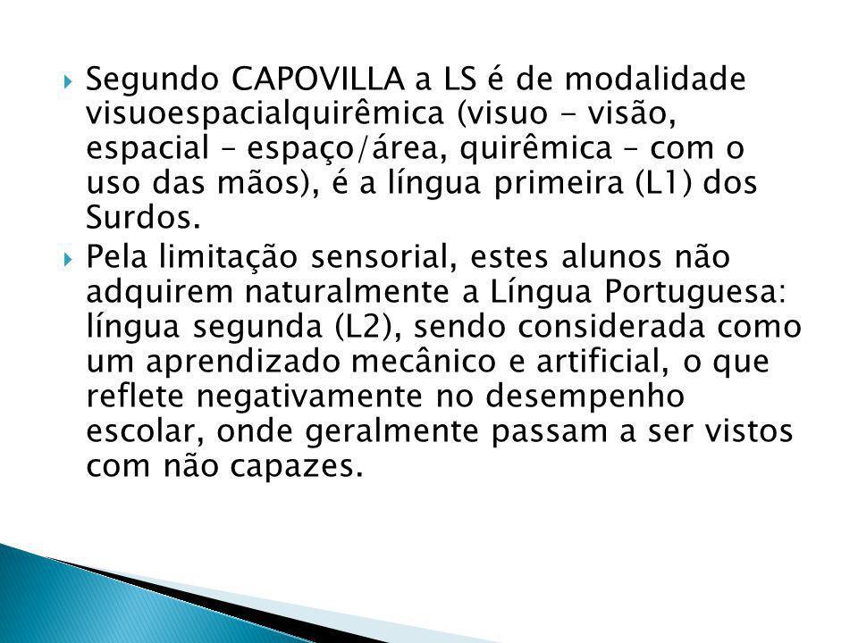 Segundo CAPOVILLA a LS é de modalidade visuoespacialquirêmica (visuo - visão, espacial – espaço/área, quirêmica – com o uso das mãos), é a língua prim