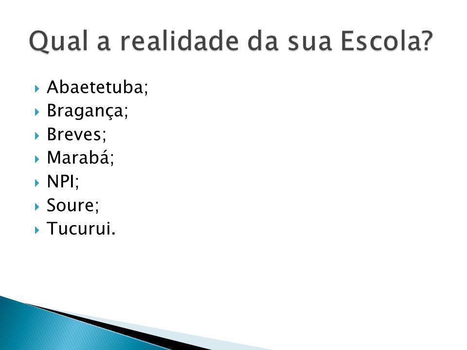 Abaetetuba; Bragança; Breves; Marabá; NPI; Soure; Tucurui.