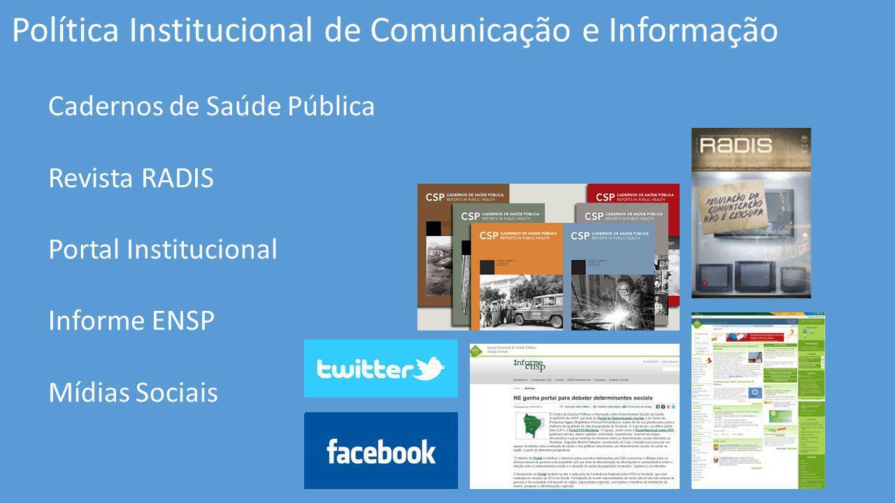 Política Institucional de Comunicação e Informação Cadernos de Saúde Pública Revista RADIS Portal Institucional Informe ENSP Mídias Sociais