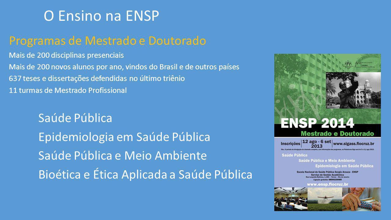 Programas de Mestrado e Doutorado Mais de 200 disciplinas presenciais Mais de 200 novos alunos por ano, vindos do Brasil e de outros países 637 teses