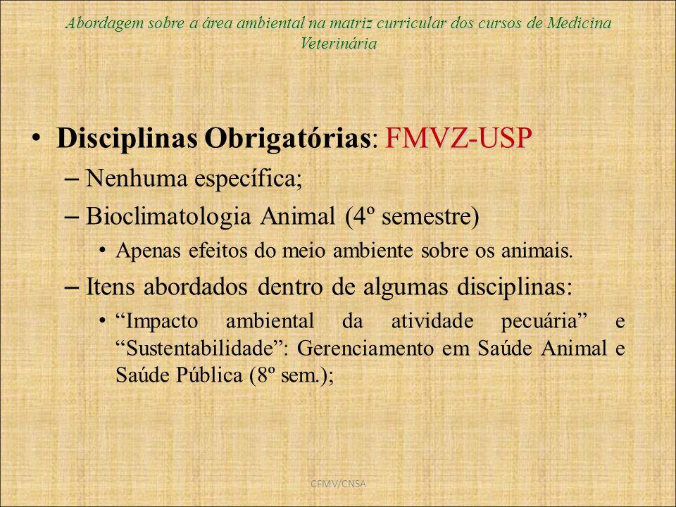 CFMV/CNSA FMVZ-USP Disciplinas Obrigatórias: FMVZ-USP – Nenhuma específica; – Bioclimatologia Animal (4º semestre) Apenas efeitos do meio ambiente sob
