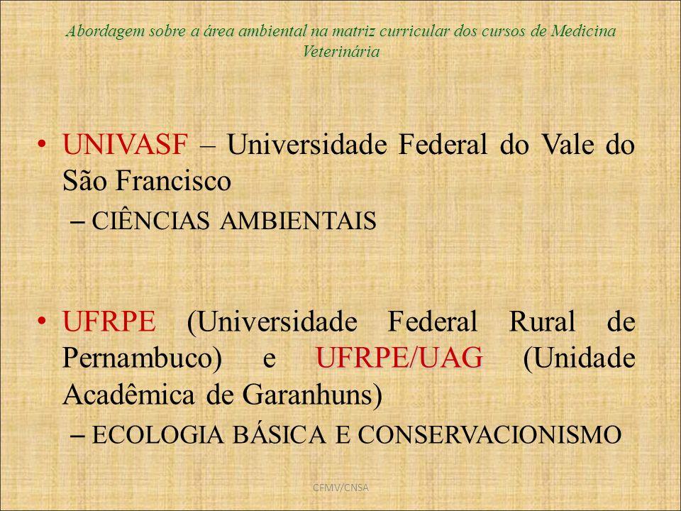 CFMV/CNSA Abordagem sobre a área ambiental na matriz curricular dos cursos de Medicina Veterinária UNIVASF – Universidade Federal do Vale do São Franc
