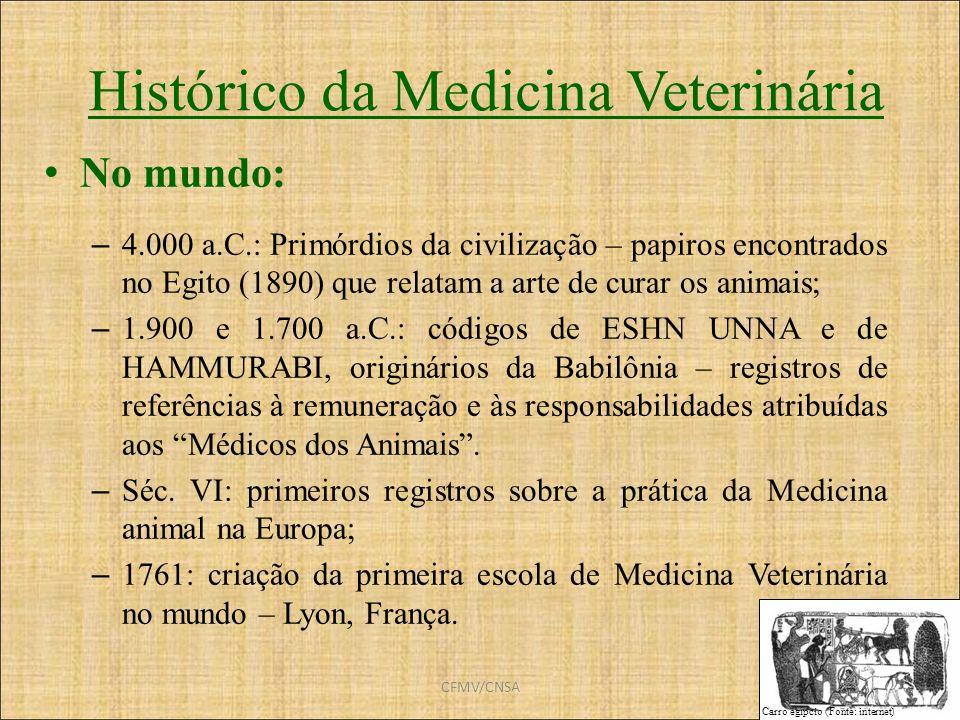CFMV/CNSA Histórico da Medicina Veterinária No mundo: – 4.000 a.C.: Primórdios da civilização – papiros encontrados no Egito (1890) que relatam a arte
