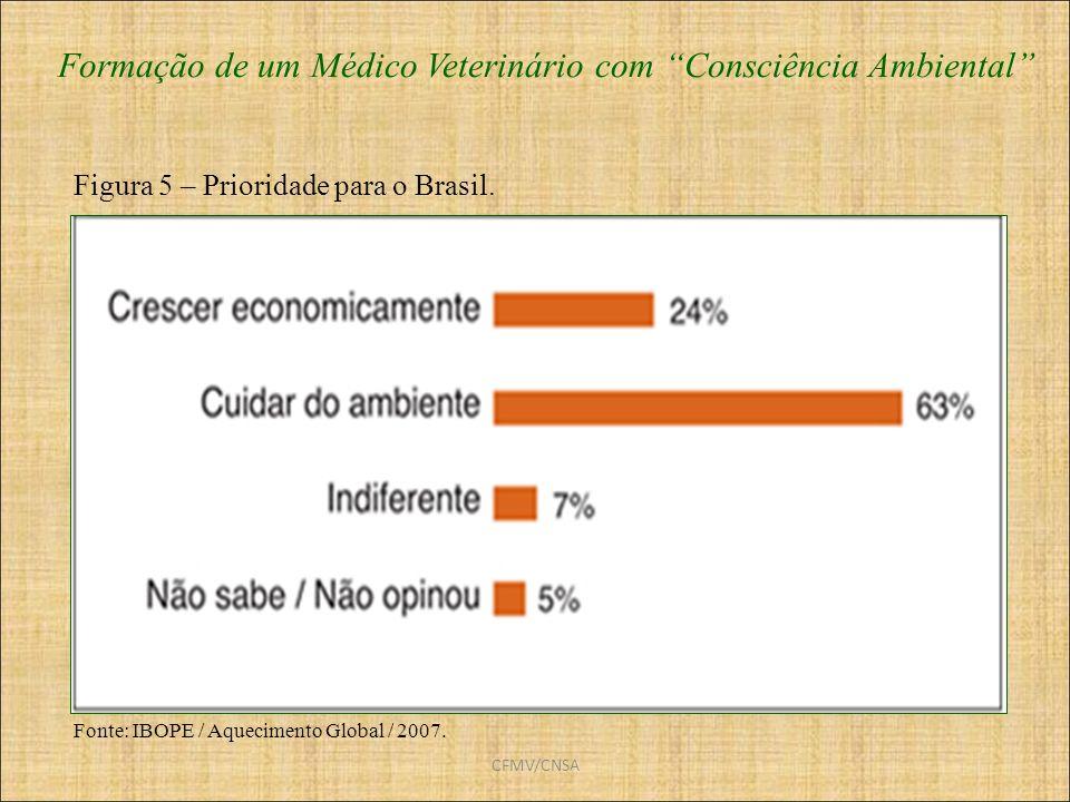 CFMV/CNSA Formação de um Médico Veterinário com Consciência Ambiental Fonte: IBOPE / Aquecimento Global / 2007. Figura 5 – Prioridade para o Brasil.