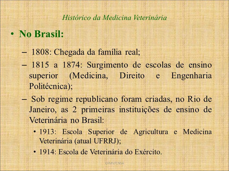 CFMV/CNSA Histórico da Medicina Veterinária No Brasil: – 1808: Chegada da família real; – 1815 a 1874: Surgimento de escolas de ensino superior (Medic