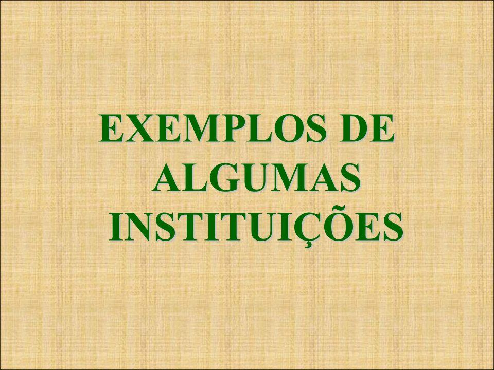 EXEMPLOS DE ALGUMAS INSTITUIÇÕES