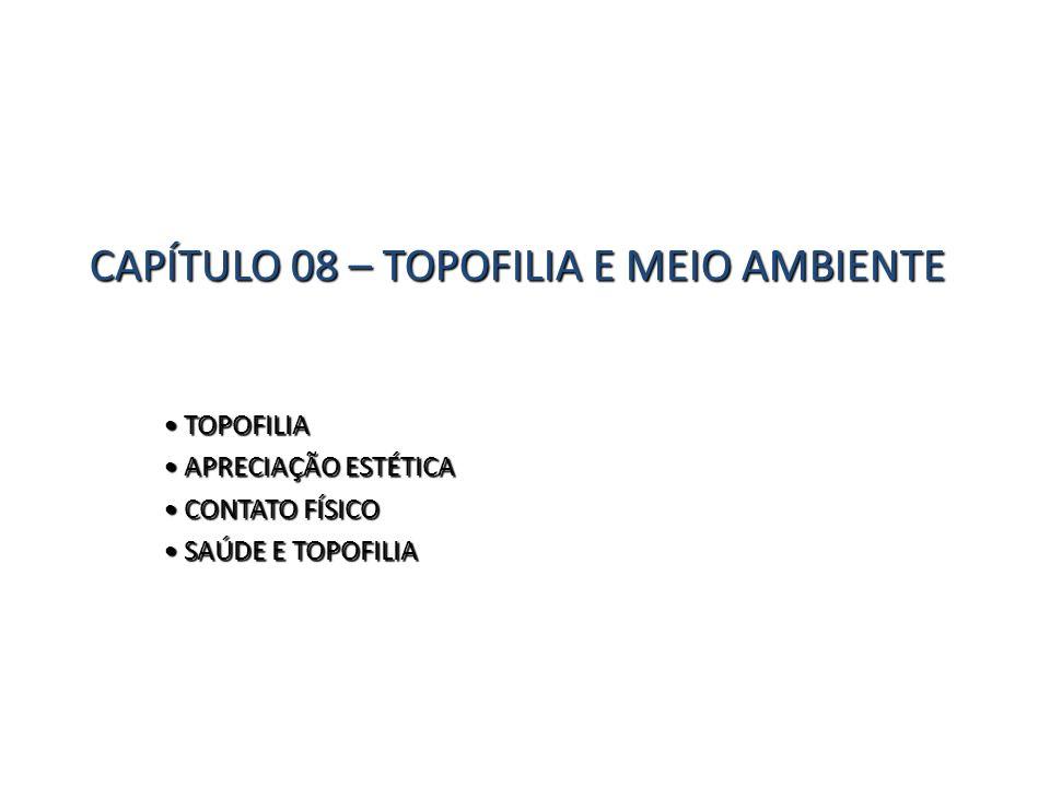 CAPÍTULO 08 – TOPOFILIA E MEIO AMBIENTE TOPOFILIA TOPOFILIA APRECIAÇÃO ESTÉTICA APRECIAÇÃO ESTÉTICA CONTATO FÍSICO CONTATO FÍSICO SAÚDE E TOPOFILIA SA