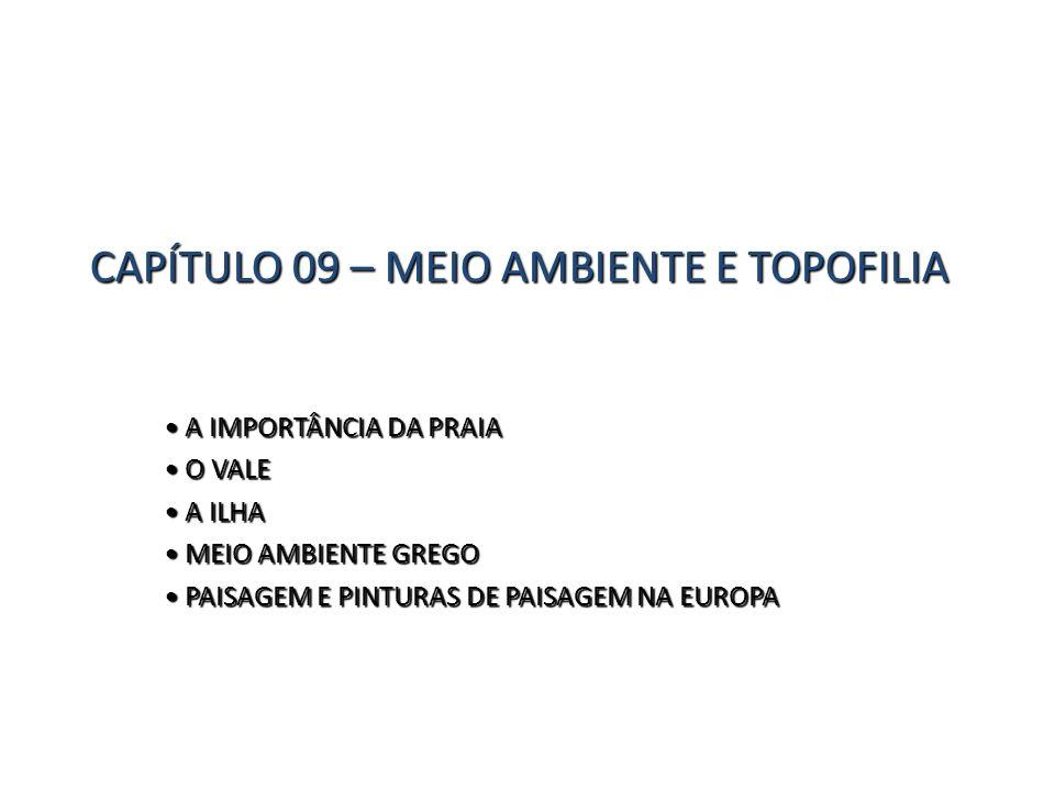 CAPÍTULO 09 – MEIO AMBIENTE E TOPOFILIA A IMPORTÂNCIA DA PRAIA A IMPORTÂNCIA DA PRAIA O VALE O VALE A ILHA A ILHA MEIO AMBIENTE GREGO MEIO AMBIENTE GR