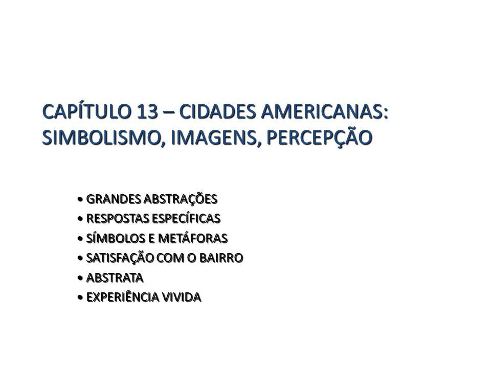 CAPÍTULO 13 – CIDADES AMERICANAS: SIMBOLISMO, IMAGENS, PERCEPÇÃO GRANDES ABSTRAÇÕES GRANDES ABSTRAÇÕES RESPOSTAS ESPECÍFICAS RESPOSTAS ESPECÍFICAS SÍM