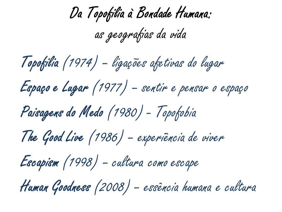 Da Topofilia à Bondade Humana: as geografias da vida Topofilia (1974) – ligações afetivas do lugar Espaço e Lugar (1977) – sentir e pensar o espaço Pa