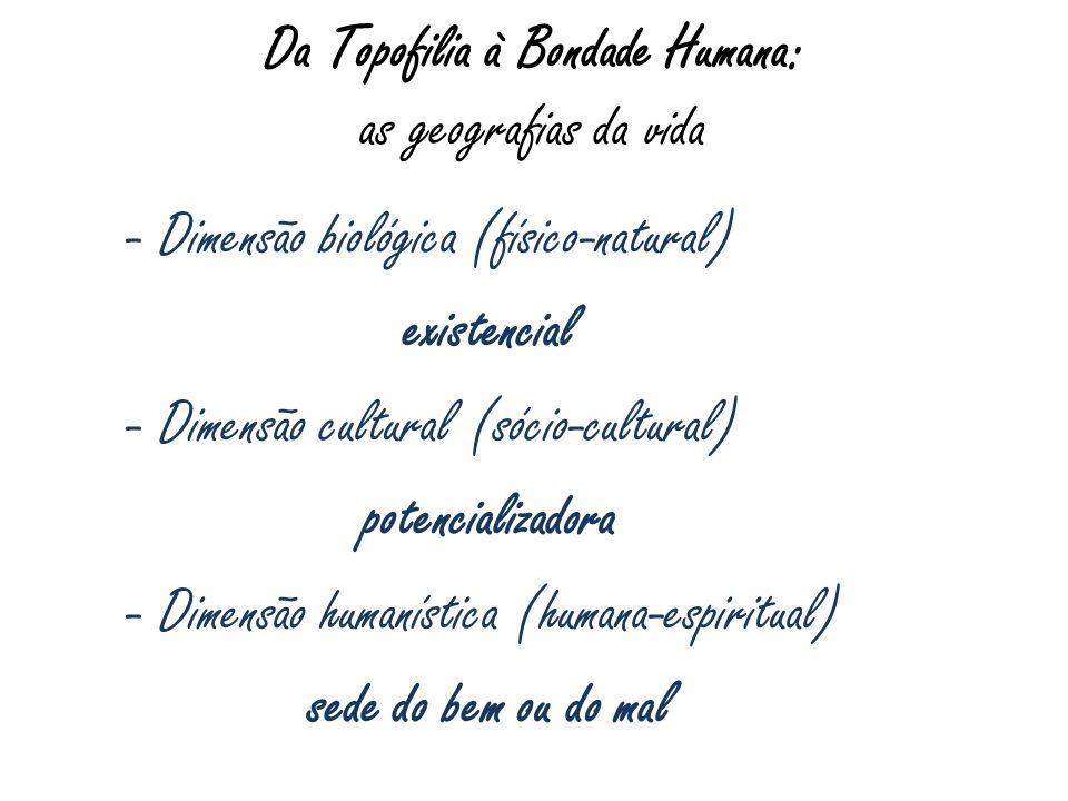 Da Topofilia à Bondade Humana: as geografias da vida - Dimensão biológica (físico-natural) existencial - Dimensão cultural (sócio-cultural) potenciali