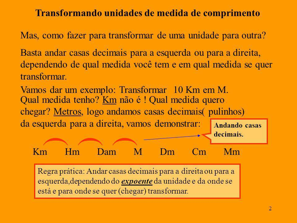 2 Transformando unidades de medida de comprimento Km Hm Dam M Dm Cm Mm Basta andar casas decimais para a esquerda ou para a direita, dependendo de qual medida você tem e em qual medida se quer transformar.