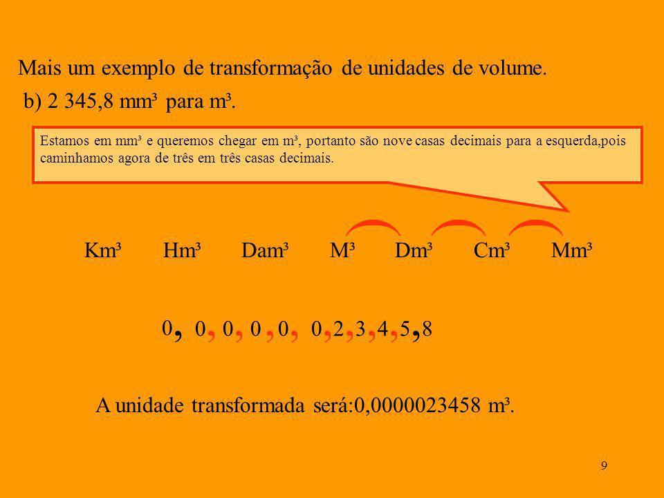 8 O metro cúbico. Da mesma forma que nos referimos ao metro quadrado como área, vamos nos referir ao metro cúbico, como sendo três dimensões, ou seja,