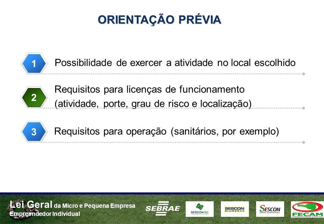 Lei Geral da Micro e Pequena Empresa Empreendedor Individual Possibilidade de exercer a atividade no local escolhido Requisitos para licenças de funcionamento (atividade, porte, grau de risco e localização) Requisitos para operação (sanitários, por exemplo) ORIENTAÇÃO PRÉVIA 1 2 33