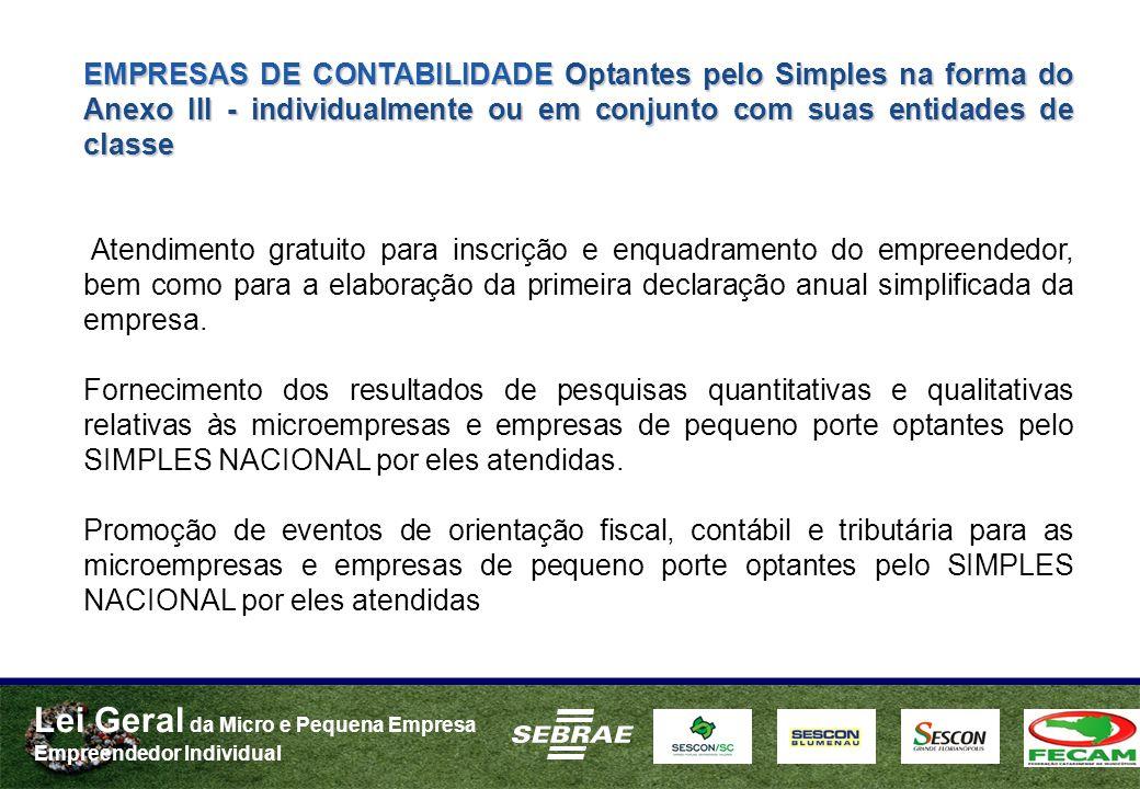 Lei Geral da Micro e Pequena Empresa Empreendedor Individual EMPRESAS DE CONTABILIDADE Optantes pelo Simples na forma do Anexo III - individualmente o