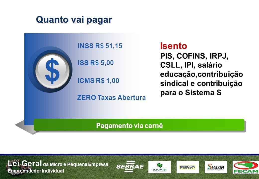 Lei Geral da Micro e Pequena Empresa Empreendedor Individual Quanto vai pagar INSS R$ 51,15 ISS R$ 5,00 $ ICMS R$ 1,00 ZERO Taxas Abertura Pagamento v