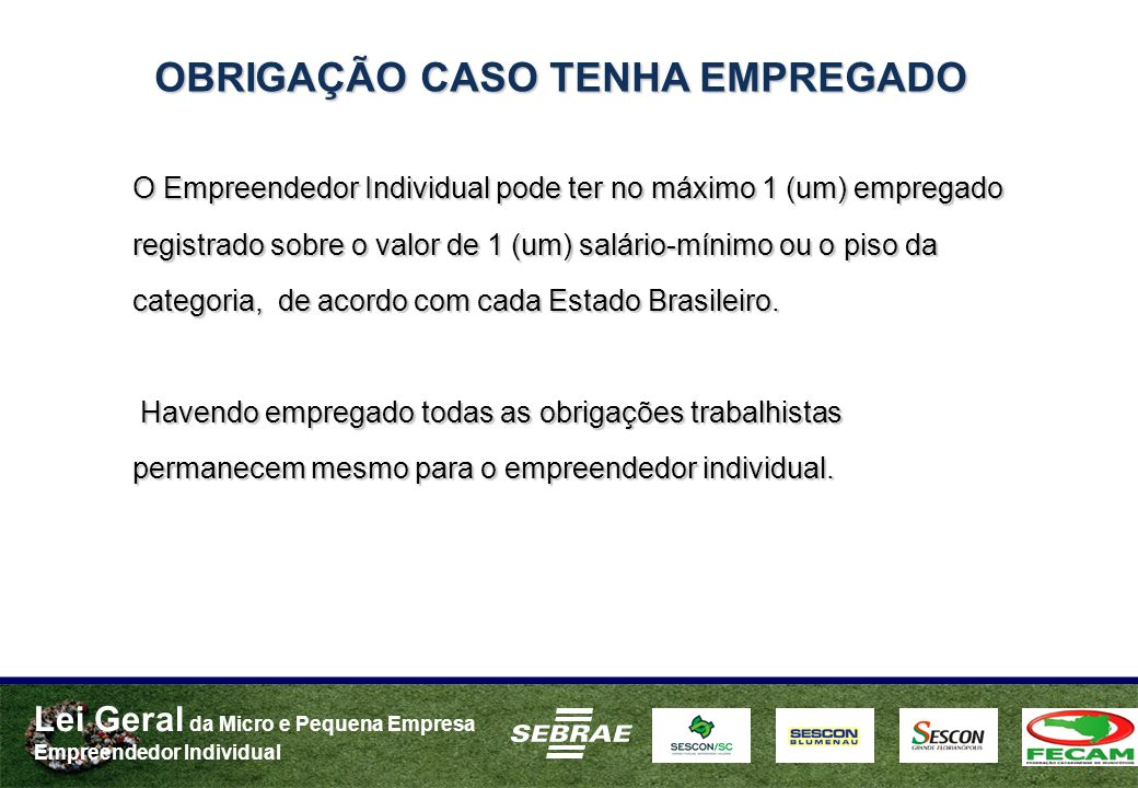 Lei Geral da Micro e Pequena Empresa Empreendedor Individual OBRIGAÇÃO CASO TENHA EMPREGADO O Empreendedor Individual pode ter no máximo 1 (um) empregado registrado sobre o valor de 1 (um) salário-mínimo ou o piso da categoria, de acordo com cada Estado Brasileiro.