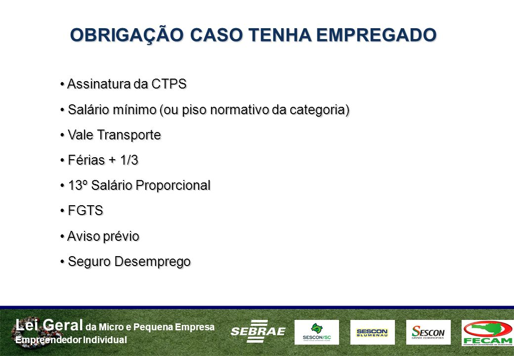 Lei Geral da Micro e Pequena Empresa Empreendedor Individual OBRIGAÇÃO CASO TENHA EMPREGADO Assinatura da CTPS Assinatura da CTPS Salário mínimo (ou p