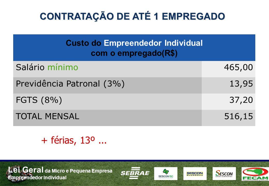 Lei Geral da Micro e Pequena Empresa Empreendedor Individual CONTRATAÇÃO DE ATÉ 1 EMPREGADO Custo do Empreendedor Individual com o empregado(R$) Salário mínimo465,00 Previdência Patronal (3%)13,95 FGTS (8%)37,20 TOTAL MENSAL516,15 + férias, 13º...