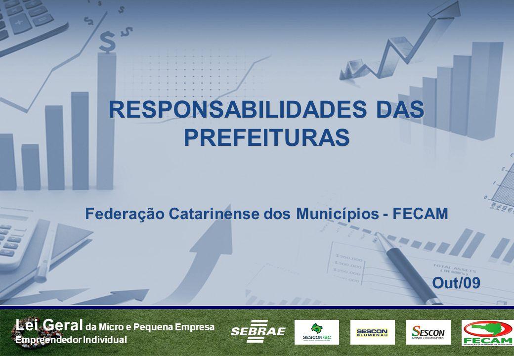 Lei Geral da Micro e Pequena Empresa Empreendedor Individual RESPONSABILIDADES DAS PREFEITURAS Federação Catarinense dos Municípios - FECAM Out/09 Out/09