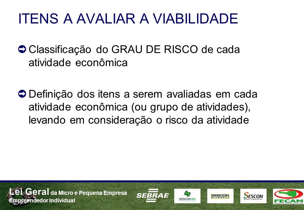 Lei Geral da Micro e Pequena Empresa Empreendedor Individual ITENS A AVALIAR A VIABILIDADE Classificação do GRAU DE RISCO de cada atividade econômica