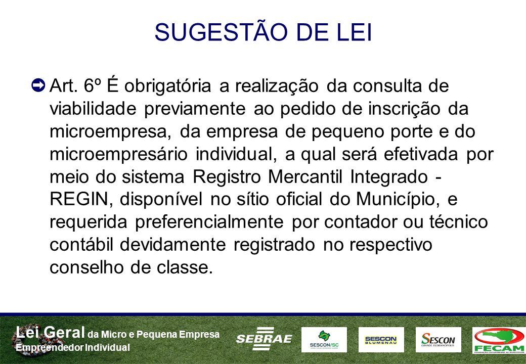 Lei Geral da Micro e Pequena Empresa Empreendedor Individual SUGESTÃO DE LEI Art. 6º É obrigatória a realização da consulta de viabilidade previamente