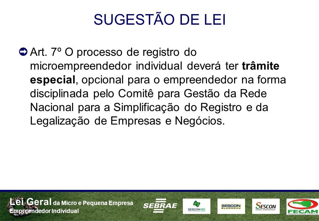 Lei Geral da Micro e Pequena Empresa Empreendedor Individual SUGESTÃO DE LEI Art. 7º O processo de registro do microempreendedor individual deverá ter