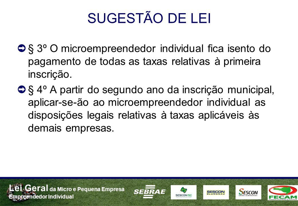 Lei Geral da Micro e Pequena Empresa Empreendedor Individual SUGESTÃO DE LEI § 3º O microempreendedor individual fica isento do pagamento de todas as taxas relativas à primeira inscrição.