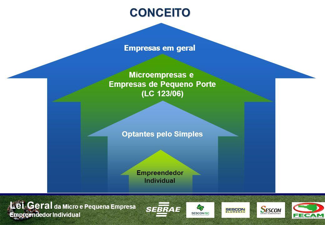 Lei Geral da Micro e Pequena Empresa Empreendedor Individual Optantes pelo Simples Microempresas e Empresas de Pequeno Porte (LC 123/06) Empreendedor Individual CONCEITO Empresas em geral