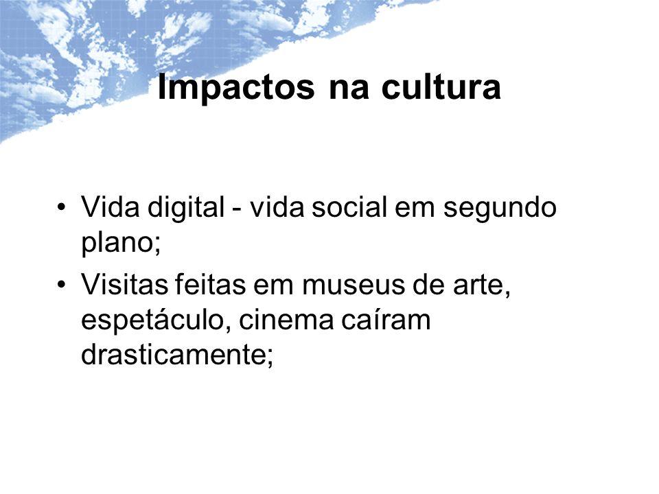 Impactos na cultura Vida digital - vida social em segundo plano; Visitas feitas em museus de arte, espetáculo, cinema caíram drasticamente;