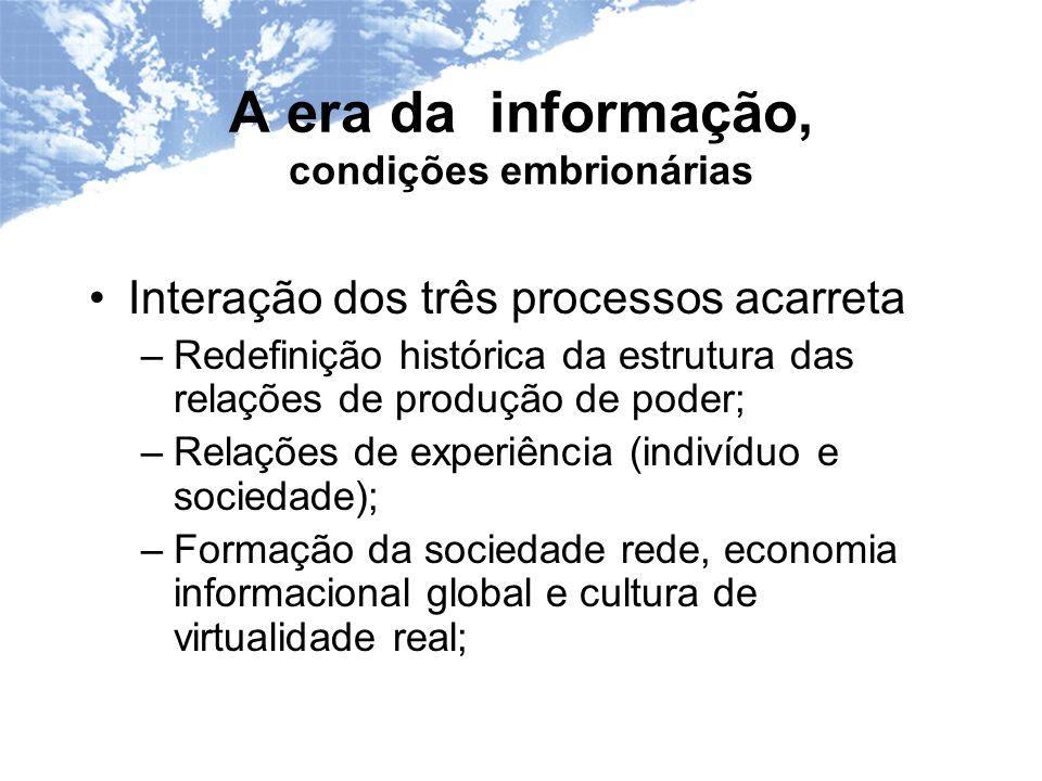 A era da informação, condições embrionárias Interação dos três processos acarreta –Redefinição histórica da estrutura das relações de produção de poder; –Relações de experiência (indivíduo e sociedade); –Formação da sociedade rede, economia informacional global e cultura de virtualidade real;
