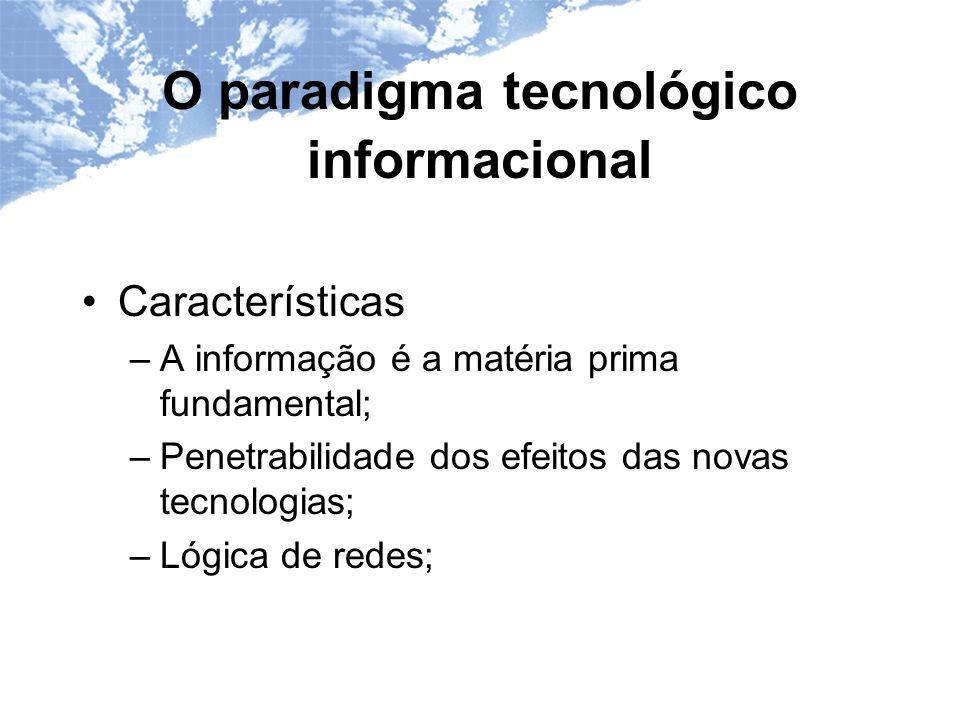 O paradigma tecnológico informacional Características –A informação é a matéria prima fundamental; –Penetrabilidade dos efeitos das novas tecnologias; –Lógica de redes;