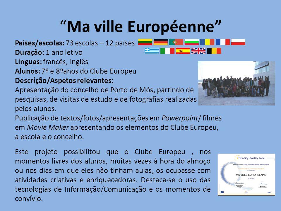 Ma ville Européenne Países/escolas: 73 escolas – 12 países Duração: 1 ano letivo Línguas: francês, inglês Alunos: 7º e 8ºanos do Clube Europeu Descriç