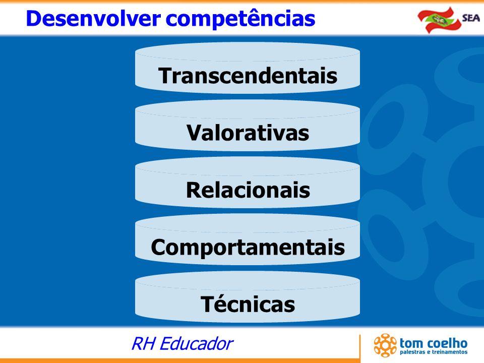RH Educador Técnicas Comportamentais Relacionais Valorativas Transcendentais Desenvolver competências