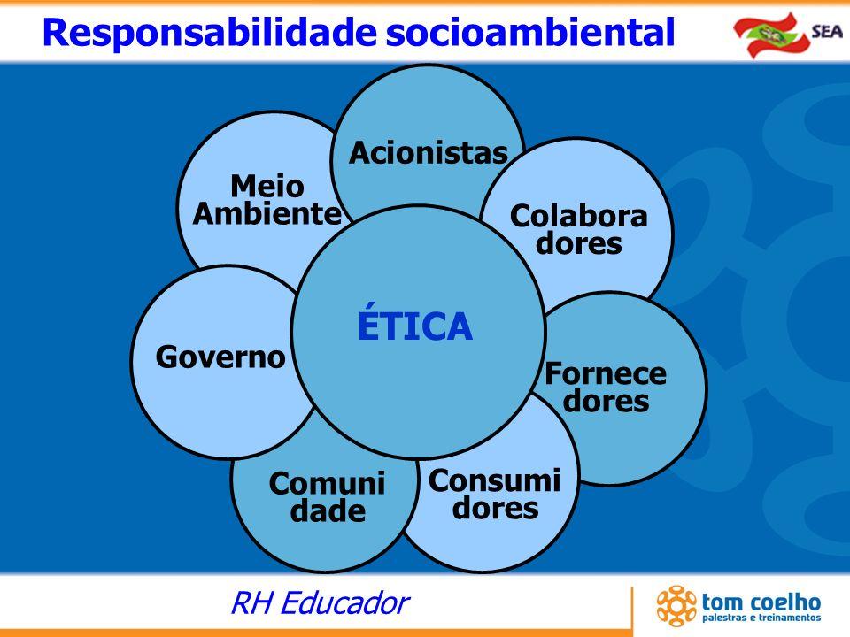 RH Educador Acionistas Colabora dores Fornece dores Consumi dores Meio Ambiente Responsabilidade socioambiental Comuni dade Governo ÉTICA