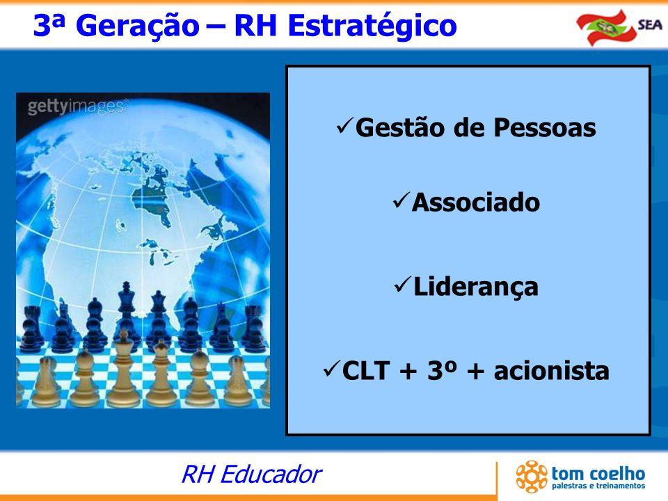 RH Educador 3ª Geração – RH Estratégico Gestão de Pessoas Associado Liderança CLT + 3º + acionista
