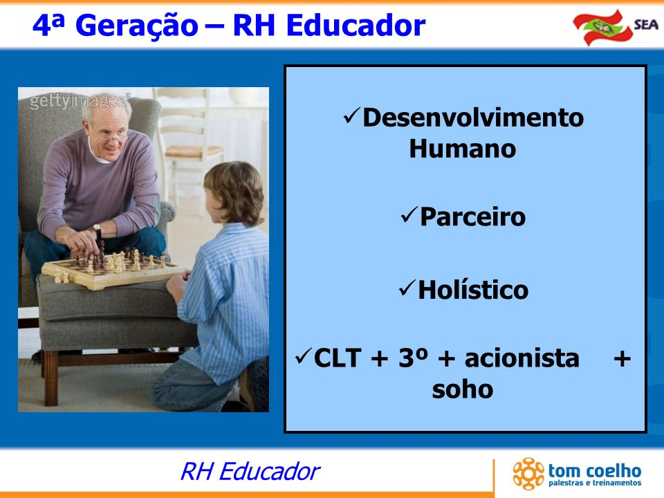 RH Educador 4ª Geração – RH Educador Desenvolvimento Humano Parceiro Holístico CLT + 3º + acionista + soho