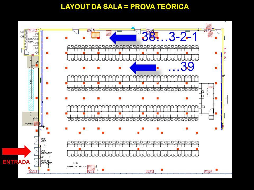 LAYOUT DA SALA = PROVA TEÓRICA ENTRADA 38…3-2-1 …39