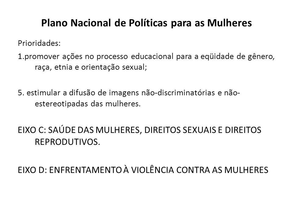 Plano Nacional de Políticas para as Mulheres Prioridades: 1.promover ações no processo educacional para a eqüidade de gênero, raça, etnia e orientação