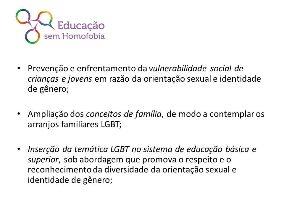 Prevenção e enfrentamento da vulnerabilidade social de crianças e jovens em razão da orientação sexual e identidade de gênero; Ampliação dos conceitos