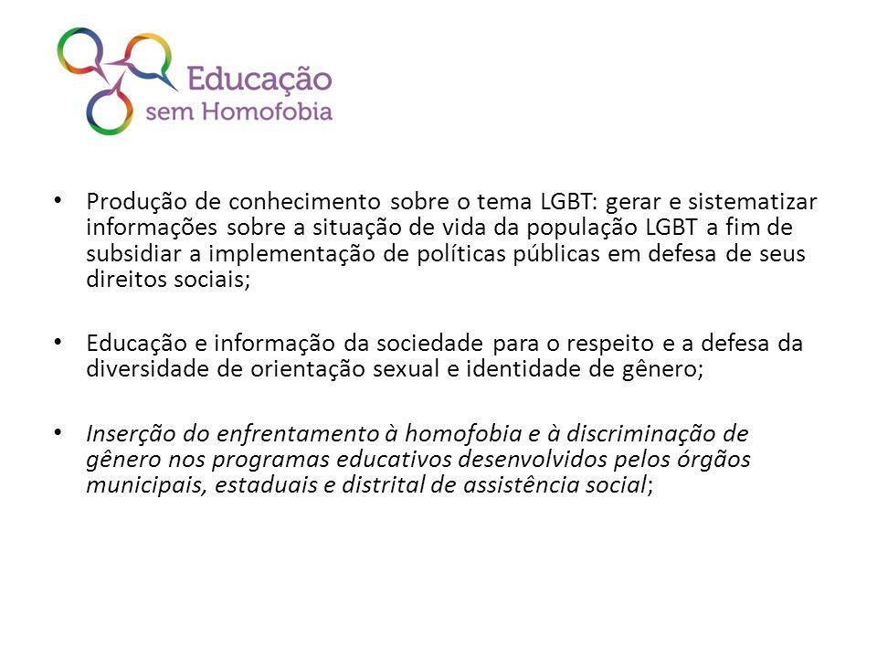 Produção de conhecimento sobre o tema LGBT: gerar e sistematizar informações sobre a situação de vida da população LGBT a fim de subsidiar a implement