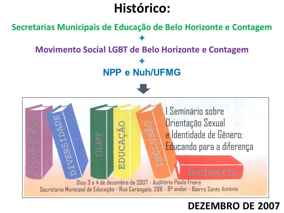Histórico: Secretarias Municipais de Educação de Belo Horizonte e Contagem + Movimento Social LGBT de Belo Horizonte e Contagem + NPP e Nuh/UFMG DEZEM