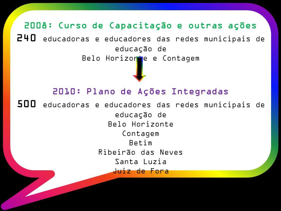 2008: Curso de Capacitação e outras ações 240 educadoras e educadores das redes municipais de educação de Belo Horizonte e Contagem 2010: Plano de Ações Integradas 500 educadoras e educadores das redes municipais de educação de Belo Horizonte Contagem Betim Ribeirão das Neves Santa Luzia Juiz de Fora
