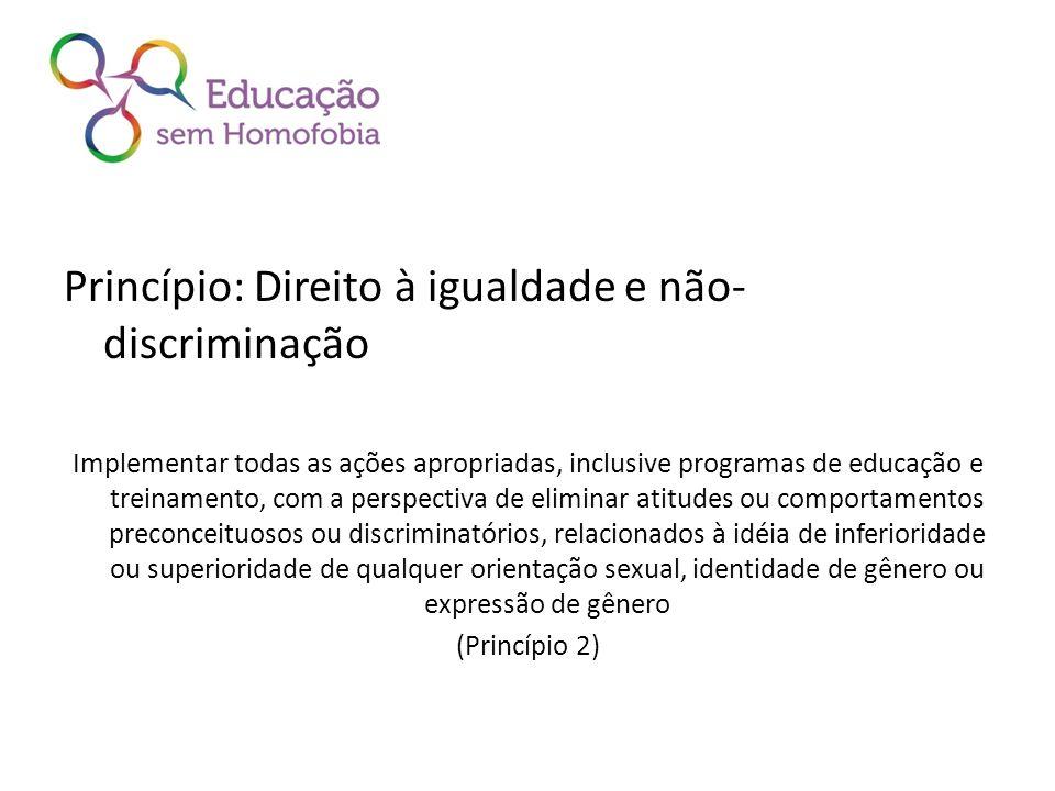 Princípio: Direito à igualdade e não- discriminação Implementar todas as ações apropriadas, inclusive programas de educação e treinamento, com a persp